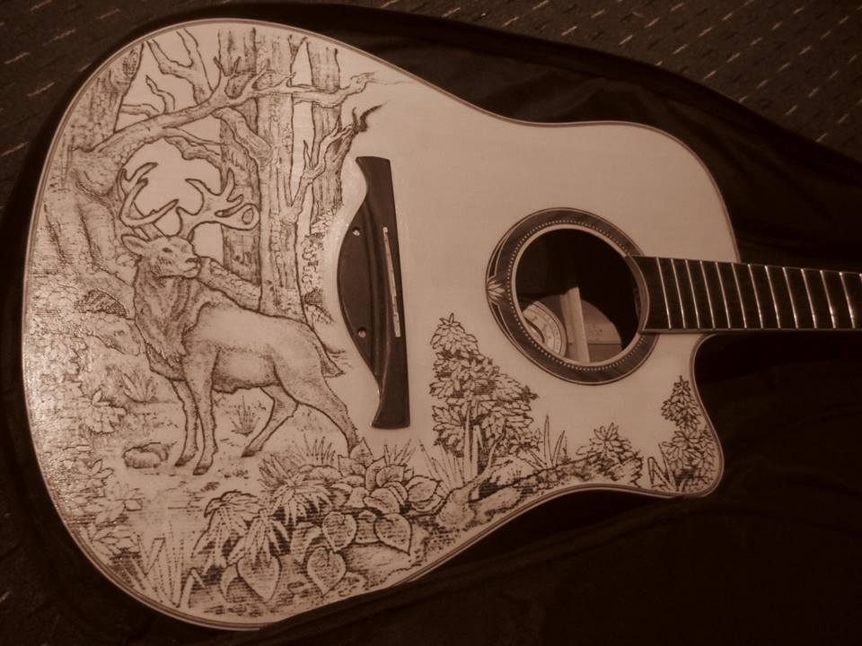 Stag and woodland acoustic guitar